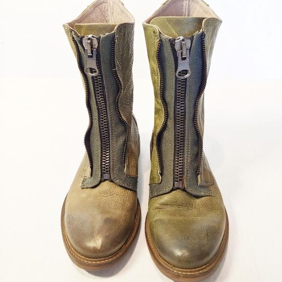 John Fluevog Green Leather Front Zipper Boots 6